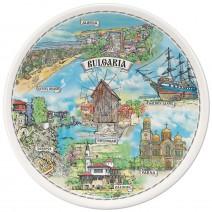 Porcelain souvenir plate - marine collage - 15 cm
