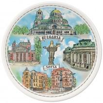 Porcelain souvenir plate - Sofia collage - 15 cm