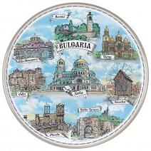 Porcelain souvenir plate - Bulgaria collage - 21 cm