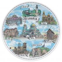 Porcelain souvenir plate - Bulgaria collage - 18 cm