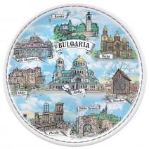 Porcelain souvenir plate - Bulgaria collage - 12 cm