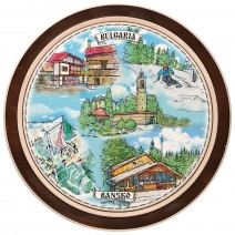 Wooden plate with a collage print Bansko - 18 cm