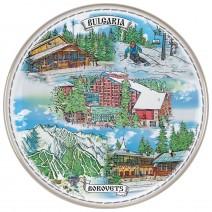 Porcelain souvenir plate - Borovets - 21 cm