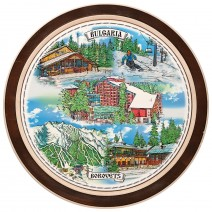 Wooden plate with a collage print Borovec - 18 cm