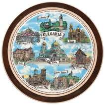 Wooden plate with a collage print Bulgaria - 18 cm