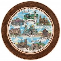 Wooden plate with a collage print Bulgaria - 15 cm