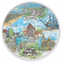Porcelain souvenir plate - marine collage - 12 cm