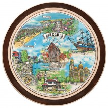 Wooden plate with a collage print Bulgarian Black Sea Coast - 22 cm
