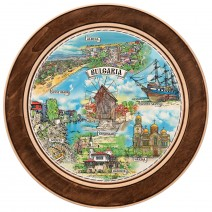 Wooden plate with a collage print Bulgarian Black Sea Coast - 15 cm