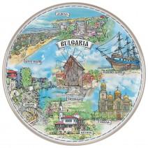 Porcelain souvenir plate - marine collage - 21 cm