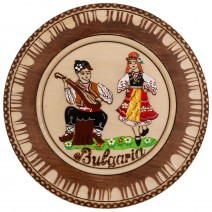 Wooden plate with carving and household pyrography - 15 cm