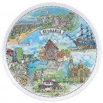 Porcelain souvenir plate - marine collage - 18 cm
