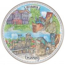 Porcelain souvenir plate - Plovdiv - 21 cm