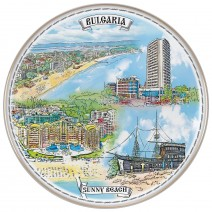 Porcelain souvenir plate - Sunny Beach - 21 cm