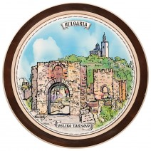 Wooden plate with a collage print Veliko Tarnovo - 18 cm