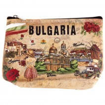 Souvenir wallet with with zip - stamp Bulgaria