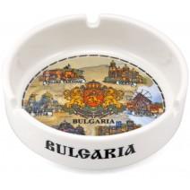 Porcelain souvenir ashtray collage Bulgaria + coat of arms