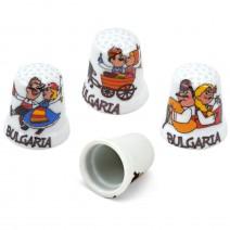 Porcelain souvenir thimble - fun folklore