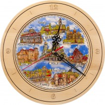 Souvenir Clock with Collage Bulgaria - 27 cm