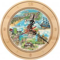 Souvenir Clock with Collage Bulgarian Black Sea Coast - 27 cm
