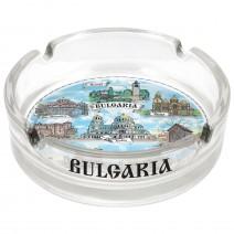 Glass souvenir ashtray collage Bulgaria and seaside