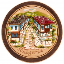 Wooden plate with drawing - 22 cm