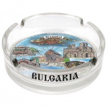 Glass souvenir ashtray collage different resorts