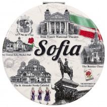 Souvenir round mirror with collage Sofia