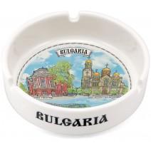 Porcelain souvenir ashtray collage different resorts of BG