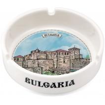 Porcelain souvenir ashtray collage different views from Bulgaria