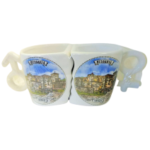 Ceramic double mug with stand - different resorts