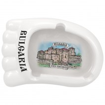Ceramic souvenir ashtray foot with different views from BG