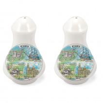 Porcelain Souvenir Set of Salt&Peppers - Collage Northern and Sothern Black Sea Coast
