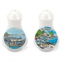 Porcelain Souvenir Set of Salt&Pepper - collage different resorts