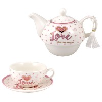 Ceramic souvenir cup with kettle and gift box