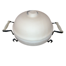 Deep ceramic plate with metal stand and domed cover